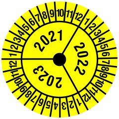 Mehrjahresprüfplakette, 3 Jahresangaben, Monate, Vinylfolie, gelb schwarz, Ø 30 mm, 2021-2023