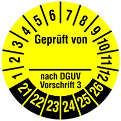 Mehrjahresprüfplakette, Geprüft von __ nach DGUV V 3, Polyethylen/Dokumentenfolie, gelb schwarz, Ø 30 mm, 2021-2025, 144 St.