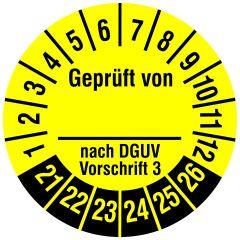Mehrjahresprüfplakette, Geprüft von __ nach DGUV V 3, Vinylfolie, gelb schwarz, Ø 20 mm, 2021-2025, 216 St.