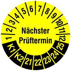 Mehrjahresprüfplakette, Nächster Prüftermin / K1, K2, Vinylfolie, gelb schwarz, Ø 20 mm, 2021-2025, 216 St.