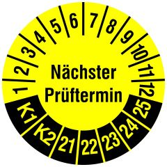 Mehrjahresprüfplakette, Nächster Prüftermin / K1, K2, Vinylfolie, gelb schwarz, Ø 30 mm, 2021-2025, 144 St.