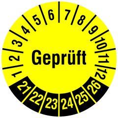 Mehrjahresprüfplakette, Geprüft, Vinylfolie, gelb schwarz, Ø 20 mm, 2021-2026, 216 St.