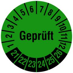Mehrjahresprüfplakette, Geprüft, Vinylfolie, grün schwarz, Ø 20 mm, 2021-2026, 120 St.