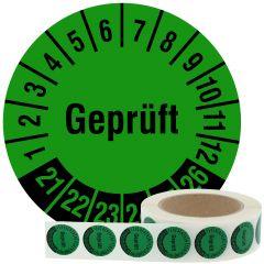Mehrjahresprüfplakette, Geprüft, Vinylfolie, grün schwarz, Ø 30 mm, 2021-2026, 1000 St.