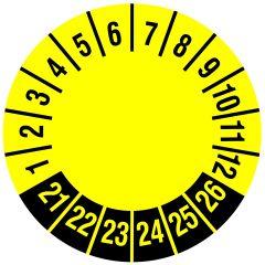 Mehrjahresprüfplakette, nur Zahlenkranz, Vinylfolie, gelb schwarz, Ø 30 mm, 2021-2026