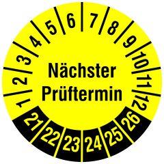 Mehrjahresprüfplakette, Nächster Prüftermin, Polyethylen/Dokumentenfolie, gelb schwarz, Ø 15 mm, 2021-2026, 240 St.