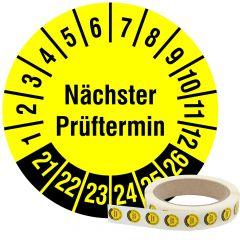 Mehrjahresprüfplakette, Nächster Prüftermin, Vinylfolie, gelb schwarz, Ø 15 mm, 2021-2026, 1000 St.