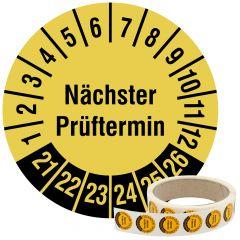 Mehrjahresprüfplakette, Nächster Prüftermin, Vinylfolie, signalgelb schwarz, Ø 20 mm, 2021-2026, 500 St.