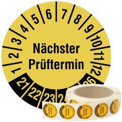 Mehrjahresprüfplakette, Nächster Prüftermin, Vinylfolie, signalgelb schwarz, Ø 30 mm, 2021-2026, 1000 St.