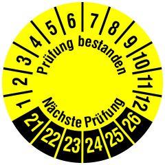 Mehrjahresprüfplakette, Prüfung bestanden / Nächste Prüfung, Polyethylen/Dokumentenfolie, gelb schwarz, Ø 30 mm, 2021-2026
