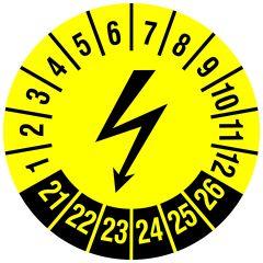 Elektro-Prüfplaketten, Vinylfolie, Blitzsymbol (Elektrogerät), gelb schwarz, Ø 20 mm, 2021-2026, 216 St.