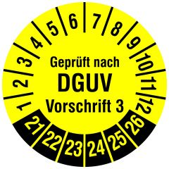 Mehrjahresprüfplakette, Geprüft nach DGUV Vorschrift 3, Polyethylen/Dokumentenfolie, gelb schwarz, Ø 15 mm, 2021-2026, 240 St.