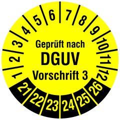 Mehrjahresprüfplakette, Geprüft nach DGUV Vorschrift 3, Polyethylen/Dokumentenfolie, gelb schwarz, Ø 20 mm, 2021-2026, 216 St.