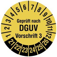 Mehrjahresprüfplakette, Geprüft nach DGUV Vorschrift 3, Vinylfolie, signalgelb schwarz, Ø 20 mm, 2021-2026, 500 St.