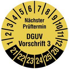 Mehrjahresprüfplakette, Nächster Prüftermin DGUV Vorschrift 3, Polyethylen/Dokumentenfolie, signalgelb schwarz, Ø 20 mm, 2021-2026, 1000 St.