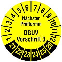 Mehrjahresprüfplakette, Nächster Prüftermin DGUV Vorschrift 3, Vinylfolie, gelb schwarz, Ø 15 mm, 2021-2026, 1000 St.