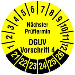 Mehrjahresprüfplakette, Nächster Prüftermin DGUV Vorschrift 4, Polyethylen/Dokumentenfolie, gelb schwarz, Ø 20 mm, 2021-2026, 216 St.