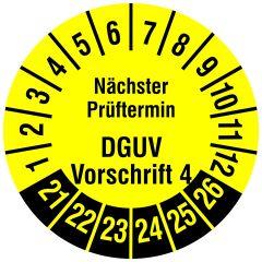 Mehrjahresprüfplakette, Nächster Prüftermin DGUV Vorschrift 4, Vinylfolie, gelb schwarz, Ø 20 mm, 2021-2026, 216 St.