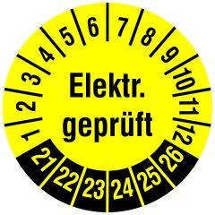 Elektro-Prüfplaketten, Vinylfolie, Elektr. geprüft, gelb schwarz, Ø 15 mm, 2021-2026, 240 St.