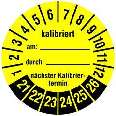 Mehrjahresprüfplakette, Kalibriert am / durch / nächster Termin, Vinylfolie, gelb schwarz, Ø 30 mm, 2021-2026, 144 St.