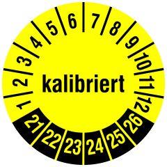 Mehrjahresprüfplakette, kalibriert, Polyethylen/Dokumentenfolie, gelb schwarz, Ø 15 mm, 2021-2026, 240 St.