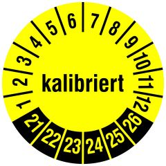 Mehrjahresprüfplakette, kalibriert, Vinylfolie, gelb schwarz, Ø 15 mm, 2021-2026, 240 St.