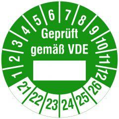 Elektro-Prüfplaketten, Polyethylen/Dokumentenfolie, Geprüft gemäß VDE - durch, grün weiß, Ø 30 mm, 2021-2026, 144 St.