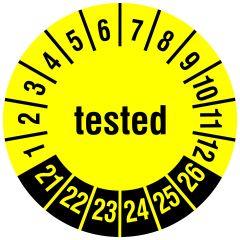 Mehrjahresprüfplakette, tested, Vinylfolie, gelb schwarz, Ø 20 mm, 2021-2026, 216 St.