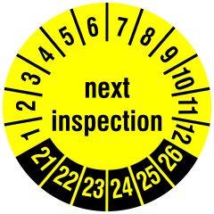 Mehrjahresprüfplakette, next inspection, Polyethylen/Dokumentenfolie, gelb schwarz, Ø 15 mm, 2021-2026
