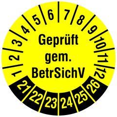 Mehrjahresprüfplakette, Geprüft gem. BetrSichV, Polyethylen/Dokumentenfolie, gelb schwarz, Ø 30 mm, 2021-2026, 144 St.