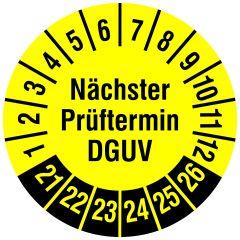 Mehrjahresprüfplakette, Nächster Prüftermin DGUV, Polyethylen/Dokumentenfolie, gelb schwarz, Ø 30 mm, 2021-2026, 144 St.