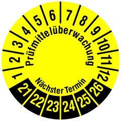 Mehrjahresprüfplakette, Prüfmittelüberwachung / Nächster Termin, Polyethylen/Dokumentenfolie, gelb schwarz, Ø 15 mm, 2021-2026