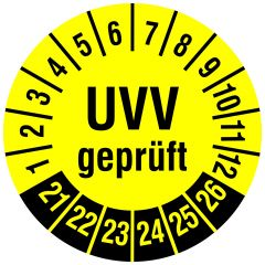 Mehrjahresprüfplakette, UVV geprüft, Polyethylen/Dokumentenfolie, gelb schwarz, Ø 30 mm, 2021-2026, 144 St.