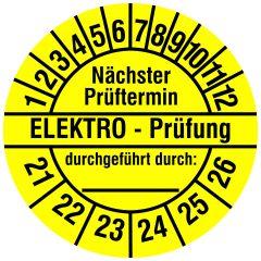 Elektro-Prüfplaketten, Vinylfolie, Elektro Prüfung/N. Prüftermin, gelb schwarz, Ø 20 mm, 2021-2026, 216 St.