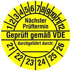 Elektro-Prüfplaketten, Vinylfolie, Geprüft gemäß VDE, gelb schwarz, Ø 30 mm, 2021-2026, 144 St.