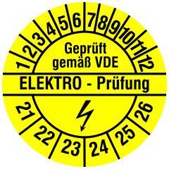 Elektro-Prüfplaketten, Vinylfolie, Elektro Prüfung, gelb schwarz, Ø 20 mm, 2021-2026, 216 St.