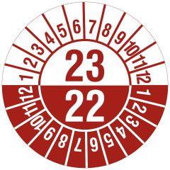 Mehrjahresprüfplakette, 2 Jahresangaben, Monate, Polyethylen/Dokumentenfolie, weiß rot, Ø 30 mm, 2022-2023