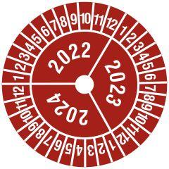 Mehrjahresprüfplakette, 3 Jahresangaben, Monate, Vinylfolie, rot weiß, Ø 30 mm, 2022-2024