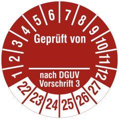 Mehrjahresprüfplakette, Geprüft von __ nach DGUV V 3, Polyethylen/Dokumentenfolie, weiß rot, Ø 30 mm, 2022-2026, 144 St.