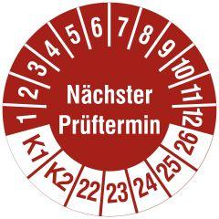 Mehrjahresprüfplakette, Nächster Prüftermin / K1, K2, Vinylfolie, rot weiß, Ø 20 mm, 2022-2026, 216 St.