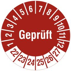 Mehrjahresprüfplakette, Geprüft, Polyethylen/Dokumentenfolie, rot weiß, Ø 30 mm, 2022-2027, 144 St.