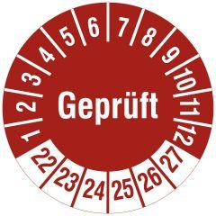 Mehrjahresprüfplakette, Geprüft, Vinylfolie, rot weiß, Ø 30 mm, 2022-2027, 144 St.