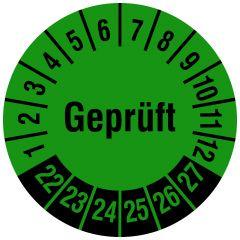 Mehrjahresprüfplakette, Geprüft, Vinylfolie, grün schwarz, Ø 30 mm, 2022-2027, 1000 St.