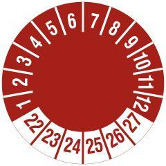 Mehrjahresprüfplakette, nur Zahlenkranz, Vinylfolie, rot weiß, Ø 15 mm, 2022-2027