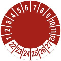 Mehrjahresprüfplakette, nur Zahlenkranz, Vinylfolie, rot weiß, Ø 20 mm, 2022-2027