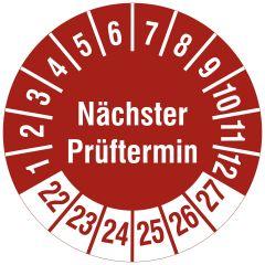 Mehrjahresprüfplakette, Nächster Prüftermin, Polyethylen/Dokumentenfolie, rot weiß, Ø 30 mm, 2022-2027, 144 St.
