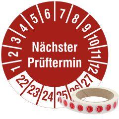 Mehrjahresprüfplakette, Nächster Prüftermin, Vinylfolie, rot weiß, Ø 15 mm, 2022-2027, 1000 St.