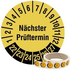 Mehrjahresprüfplakette, Nächster Prüftermin, Vinylfolie, signalgelb schwarz, Ø 20 mm, 2022-2027, 500 St.
