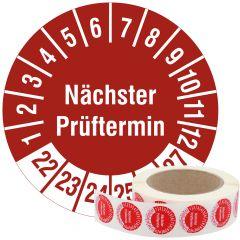 Mehrjahresprüfplakette, Nächster Prüftermin, Vinylfolie, rot weiß, Ø 30 mm, 2022-2027, 1000 St.