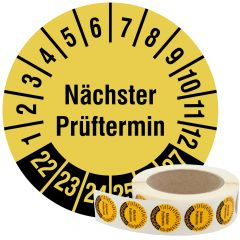 Mehrjahresprüfplakette, Nächster Prüftermin, Vinylfolie, signalgelb schwarz, Ø 30 mm, 2022-2027, 1000 St.